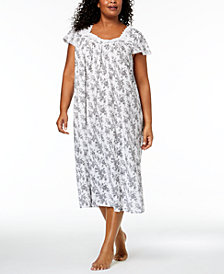 Charter Club Plus Size Lace-Trim Cotton Nightgown, Created for Macy's