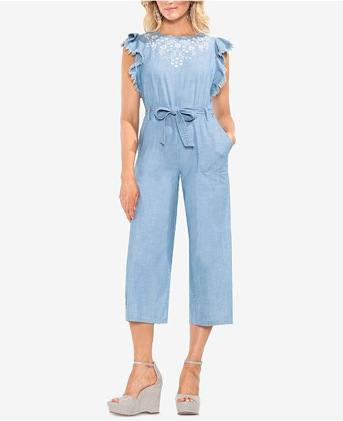 Embroidered Cotton Vince Jumpsuit Cropped Camuto Ice Lagoon Rgn8qzwUn