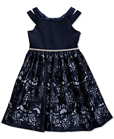 Sweet Heart Rose Little Girls Embellished Glitter Lace Dress