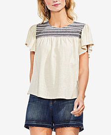 Vince Camuto Cotton Embroidered  Top