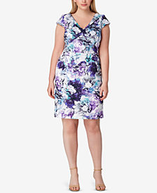 Tahari ASL Plus Size Printed Scuba Sheath Dress