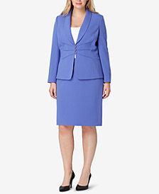 Tahari ASL Plus Size Three-Button Skirt Suit