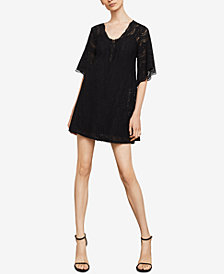 BCBGMAXAZRIA Lace-Up Lace Shift Dress