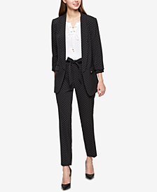 Tommy Hilfiger Dot-Print Ruched-Sleeve Jacket & Belted Skinny Ankle Pants