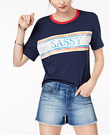 Rebellious One Juniors' Sassy Cotton Graphic T-Shirt