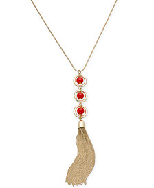 "I.N.C. Gold-Tone Circle, Ball & Chain Tassel Pendant Necklace, 30"" + 3""  extender, Created for Macy's"