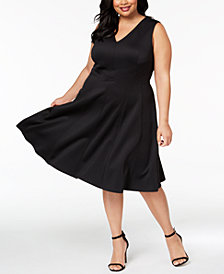 Calvin Klein Plus Size V-Neck Scuba Fit & Flare Dress