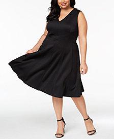Calvin Klein Plus Size V-Neck Scuba Fit & Flare Dress