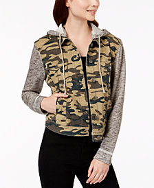 Tinseltown Juniors' Camo-Print Denim Hoodie
