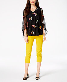 Alfani Embroidered Top & Capri Pants, Created for Macy's