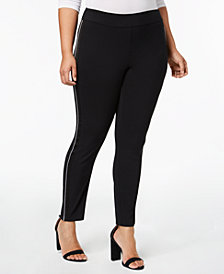 I.N.C. Plus Size Satin-Stripe Skinny Pants, Created for Macy's