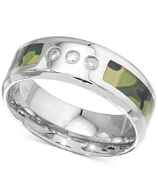 Men's Diamond Camouflage Band (1/10 ct. t.w.) in Stainless Steel