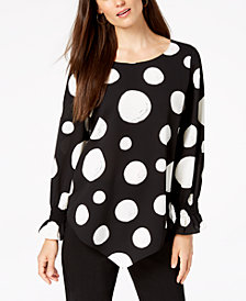 Alfani Printed V-Hem Blouse, Created for Macy's