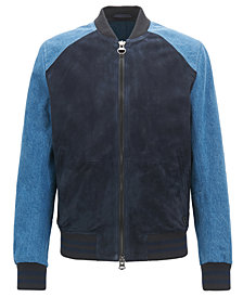BOSS Men's Slim-Fit Varsity Leather Jacket