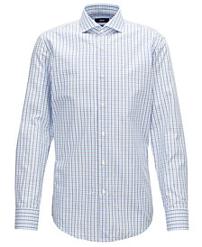 BOSS Men's Slim-Fit Gingham Checked Cotton Shirt