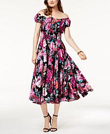 I.N.C. Printed Smocked Dress, Created for Macy's