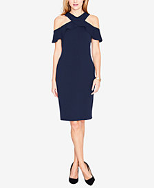RACHEL Rachel Roy Ruffled Cold-Shoulder Halter Dress
