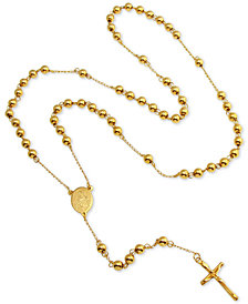 "Men's Beaded Cross Lariat 28"" Necklace in Yellow Ion-Plated Stainless Steel"