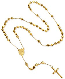 """Men's Beaded Cross Lariat 28"""" Necklace in Yellow Ion-Plated Stainless Steel"""