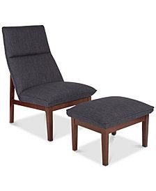 Edilane Chair & Ottoman Set, Quick Ship