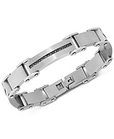 Men's Diamond Square Link Bracelet (1/2 ct. t.w.) in Stainless Steel