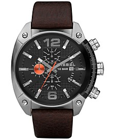 Men's Chronograph Overflow Dark Brown Leather Strap Watch 49x54mm