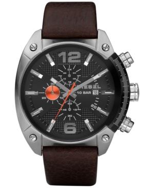 Diesel Men's Chronograph Overflow Dark Brown Leather Strap Watch 49x54mm