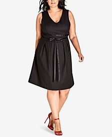 Trendy Plus Size Ribbon-Belt A-Line Dress