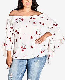 City Chic Trendy Plus Size Printed Miss Poppy Off-The-Shoulder Top