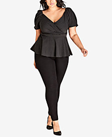 City Chic Trendy Plus Size Striped Sabrina Wrap-Front Top