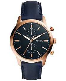 Mens Townsman Navy Leather Strap Watch 44mm FS5436