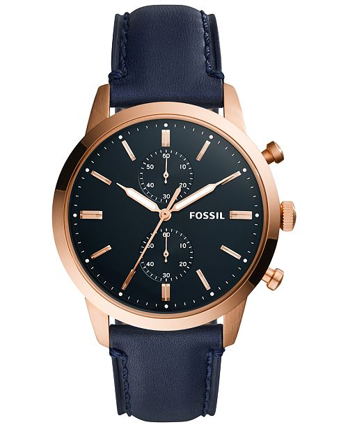 Fossil Mens Townsman Navy Leather Strap Watch 44mm FS5436