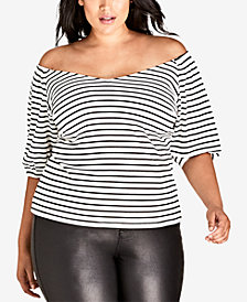 City Chic Trendy Plus Size Sweetly Striped Ribbed Top