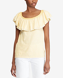 Lauren Ralph Lauren Striped Ruffled Sweater