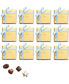 Godiva Set of 12 4-Pc. Gold Boxes With Light Blue Ribbon