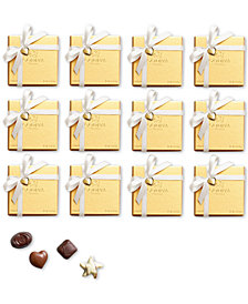 Godiva Set of 12 4-Pc. Gold Boxes With White Ribbon