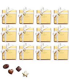 Godiva Set of 12 4-Pc. Gold Boxes With White Ribbon