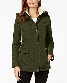 Fleece-Lined Hooded Quilted Jacket