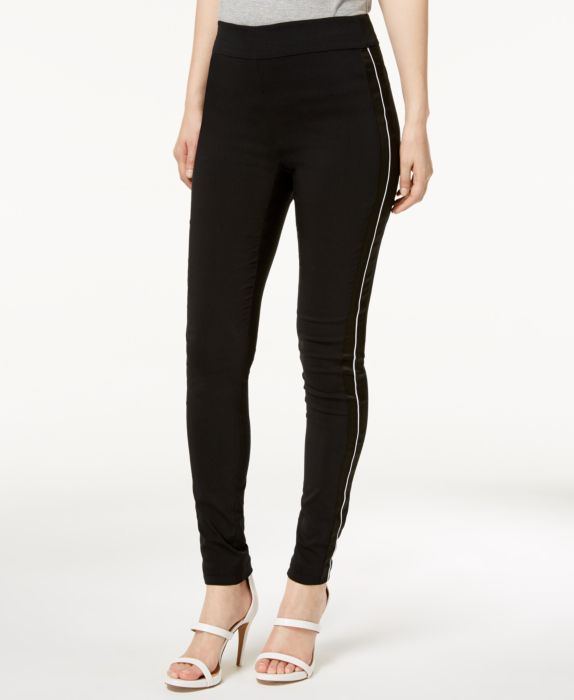 I.N.C. Petite Satin-Stripe Skinny Pants, Black, Size: 14P
