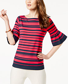 Charter Club Petite Striped Ruffle-Sleeve Top, Created for Macy's