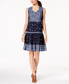 Style & Co Petite Mixed-Print Peasant Dress