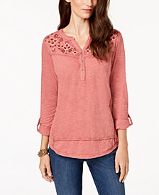 Style & Co Petite Cotton Embroidered Split-Neck Top, Created for Macy's