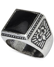 Men's Onyx (12mm) Fleur-de-Lis Ring in Sterling Silver (Also in Manufactured Turquoise)