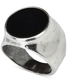 Men's Onyx (12-3/4mm) Hammered Ring in Sterling Silver (Also in Stablized Turquoise)