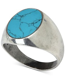 DEGS & SAL Men's Onyx (10mm) Ring in Sterling Silver (Also in Manufactured Turquoise)