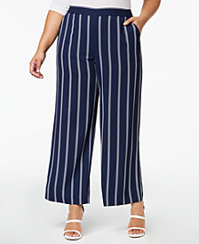 Charter Club Plus Size Striped Cropped Pants, Created for Macy's