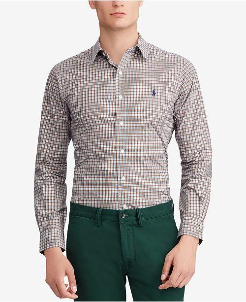 911b958f170b4a Polo Ralph Lauren Men's Slim Fit Plaid Cotton Poplin Shirt - Casual ...
