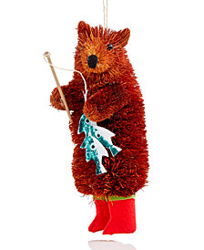 Holiday Lane Bear Wearing Red Boots with Fishing Rod Ornament, Created for Macy's