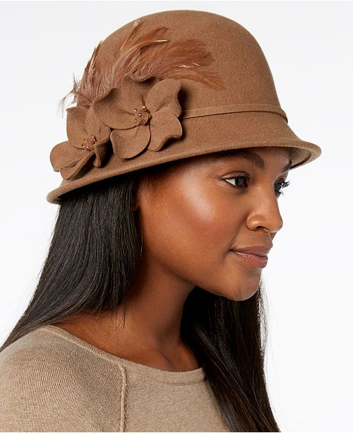 b8f01e45e806f1 Josette Flower-Embellished Wool Felt Cloche & Reviews - Handbags ...