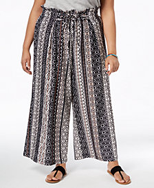 John Paul Richard Plus Size Printed Wide-Leg Crop Pants